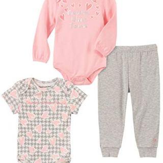 Calvin Klein Baby Girls 3 Pieces Bodysuit Pants Set, Pink/Print