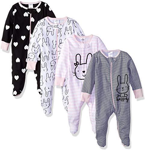 GERBER Baby Girls' 4-Pack Sleep N' Play, Bunny