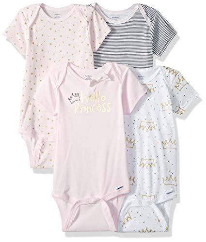 GERBER Baby Girls' 4-Pack Short-Sleeve Onesies Bodysuit, Princess Crown