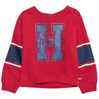 Tommy Hilfiger Baby Girls Long Sleeve Crew Neck Top, Scarlet Sage Red