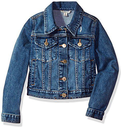 Calvin Klein Girls' Big Denim Jacket, Authentic, Medium