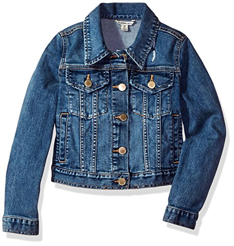 Calvin Klein Girls' Big Denim Jacket, Authentic, Medium