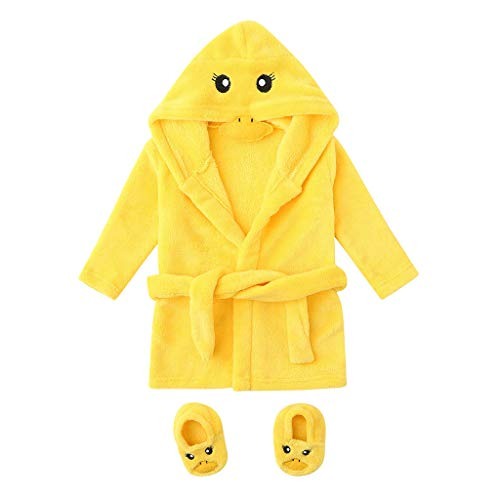 Baulody Infant Boys Girls Cartoon Flannel Bathrobes Hoodie Sleepwear+Footwear