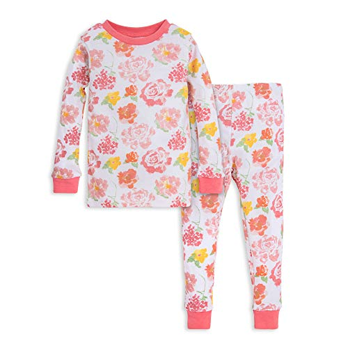 Burt's Bees Baby Baby Girls' Pajamas, Tee and Pant 2-Piece PJ Set, 100% Organic Cotton, Pink Rosy Spring, 18 Months