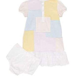Ralph Lauren Baby Girls Color-Block Patchwork Cotton Dress and Bloom Set