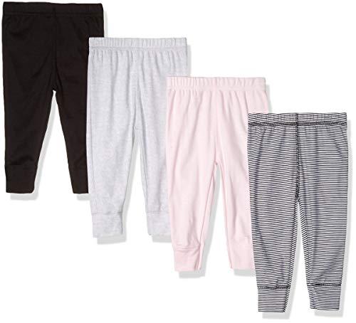 GERBER Baby Girls' 4-Pack Pants, piink Stripe