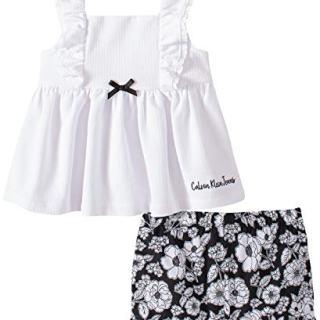 Calvin Klein Baby Girls' 2 Pieces Shorts Set, White/Black