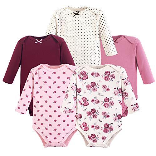 Hudson Baby Unisex Baby Cotton Long-Sleeve Bodysuits, Rose