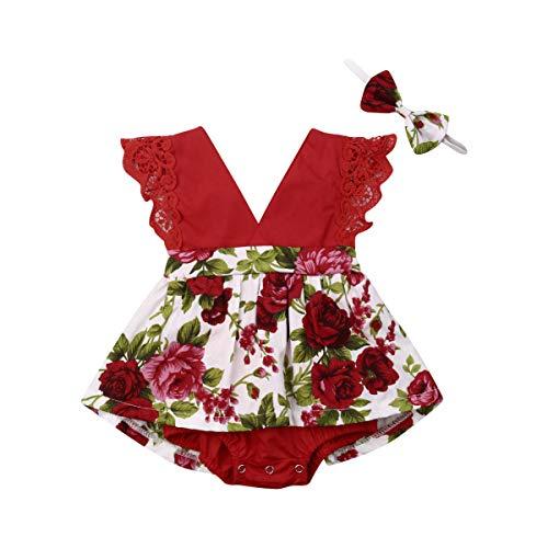 Toddler Baby Girl 2Pcs Romper + Headband Floral Sleeveless Lace Infant Newborn
