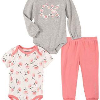 Calvin Klein Baby Girls 3 Pieces Bodysuit Pants Set, Rose/Gray