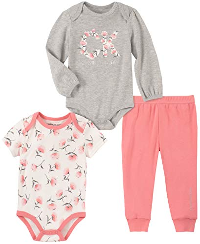 Calvin Klein Baby Girls 3 Pieces Bodysuit Pants Set, Rose/Gray