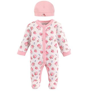 Luvable Friends Baby Preemie Sleep N Play & Cap, Floral