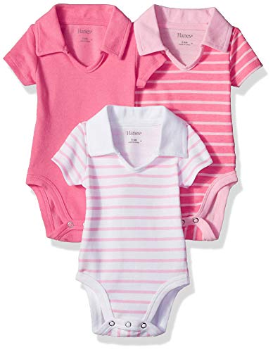 Hanes Ultimate Baby Flexy 3 Pack Short Sleeve Polo Bodysuits, Pink Stripe