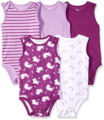 Hanes Ultimate Baby Flexy 5 Pack Sleeveless Bodysuits (Tanks), Purple Fun