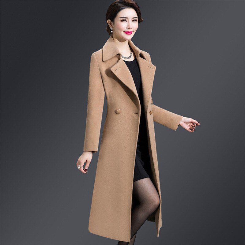 Woolen coat women violet M-5XL plus size autumn winter
