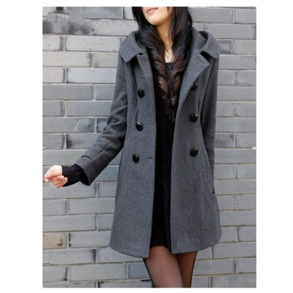 Material: CottonMaterial: PolyesterClothing Length: longModel Number: K142Age: Ages 18-35 Years OldCollar: HoodedClosure Type: Double BreastedSleeve Style: REGULARSleeve Length(cm): FullType: SlimOuterwear Type: Wool & BlendsGender: WOMENDecoration: PocketsDecoration: SplicedMaterial Composition: CottonStyle: Office LadyPattern Type: Solid