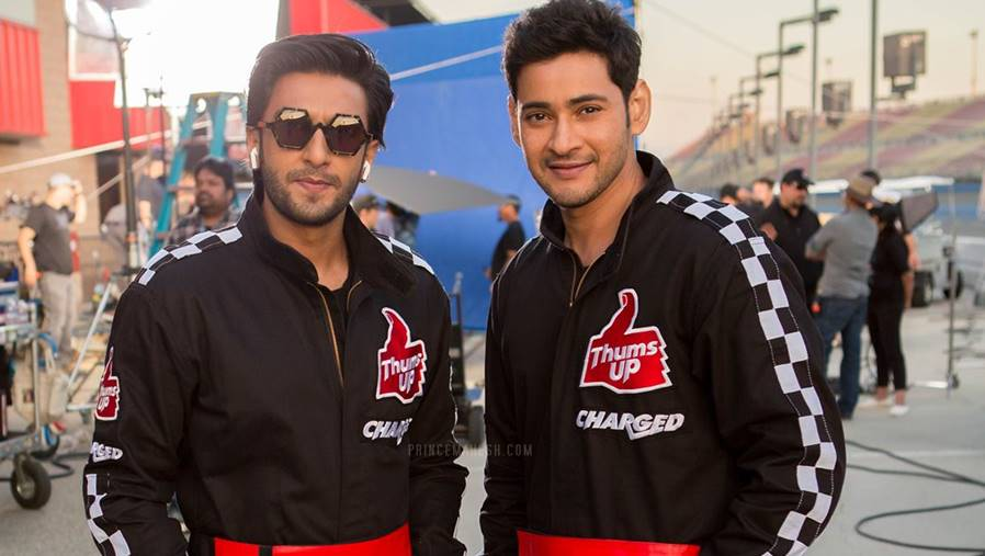mahesh babu with ranveer singh in thumsup take charge tvc 1