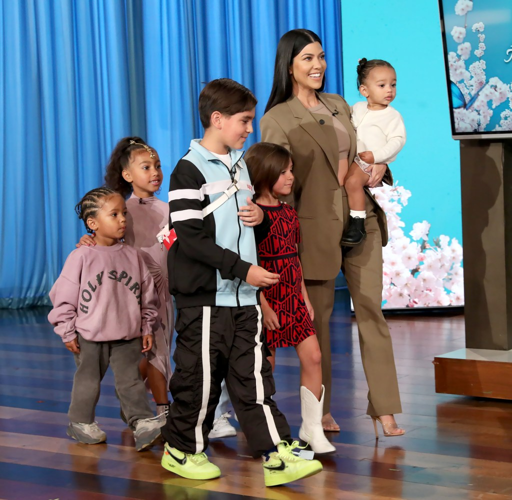 Kourtney with her nieces and nephew