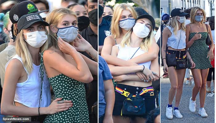 Cara Delevingne And Kaia Gerber Hold Hands And Cuddle Up At A Black Lives Matter Protest In Los Angeles