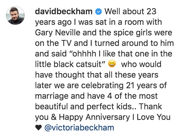 David Beckham gushed about his wife Victoria on Instagram to mark their 21st wedding anniversary 2552457