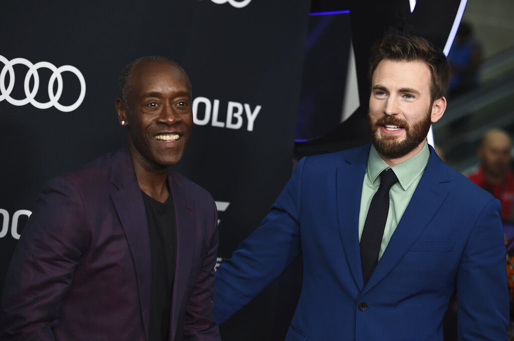 "Don Cheadle, left, and Chris Evans arrive at the premiere of ""Avengers: Endgame"" at the Los Angeles Convention Center on Monday, April 22, 2019. (Photo by Jordan Strauss/Invision/AP)"