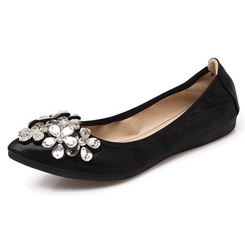 Meeshine Womens Foldable Soft Pointed Toe Ballet Flats Rhinestone Comfort