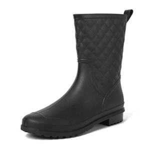 Magone Womens Block Heel Rain Boots Fashion Rain Shoes