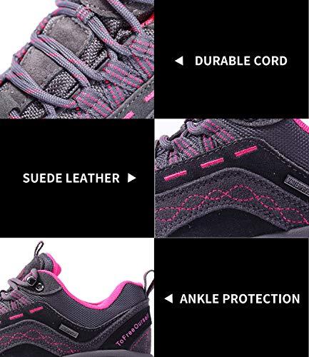 TFO Women's Hiking Shoes Anti-Slip Breathable Sneaker TFO Women's Hiking Shoes Anti-Slip Breathable Sneaker for Outdoor Walking Trekking Grey.