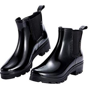Tisor Women's Rain Boots Platform Slip On Ankle Boots