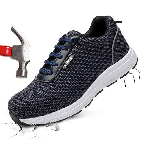 Barerun Unisex Steel Toe Work Shoes Industrial&Construction Shoes
