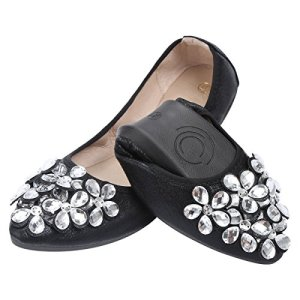 KUNSHOP Women Ballet Flats Rhinestone Wedding Ballerina Shoes