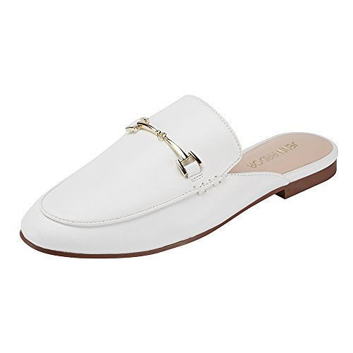 JENN ARDOR Women's Mule Flats Shoes Pointed Toe Backless Slipper Slip On JENN ARDOR Women's Mule Flats Shoes Pointed Toe Backless Slipper Slip On Loafer Shoes White.