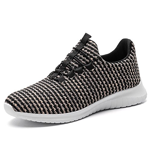 TIOSEBON Women's Lightweight Casual Walking Athletic Shoes Breathable Running Slip-On Sneakers 12 US Black/Pink