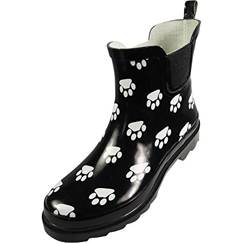 NORTY - Womens Ankle High Paw Printed Rain Boot, Black