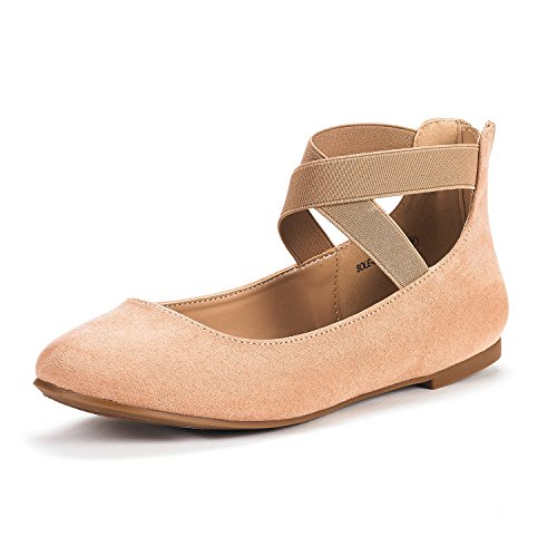 DREAM PAIRS Women's Sole_Stretchy Nude Fashion Elastic Ankle Straps Flats Shoes