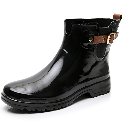TRIPLE DEER Women's Ankle Rain Boots Short Rubber Boots Ladies