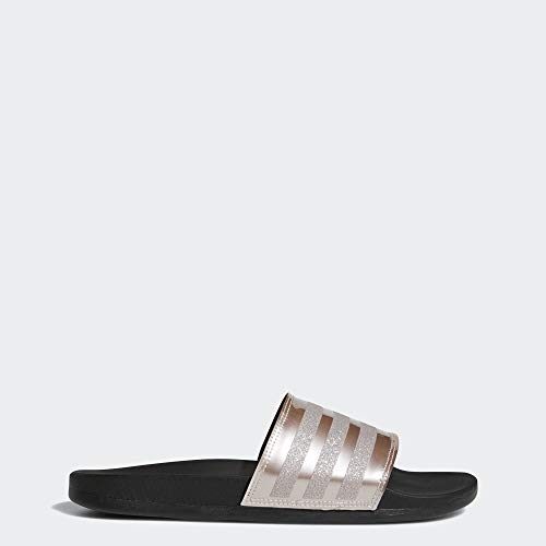 adidas Women's Adilette Comfort Sport Sandal, Vapour Grey Metallic/Black, 7 M US