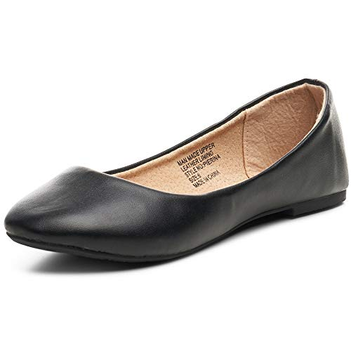 alpine swiss Womens Black Leather Pierina Ballet Flats