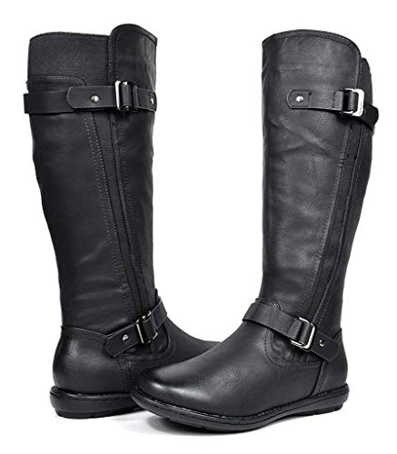 DREAM PAIRS Women's Trace Black Faux Fur-Lined Knee High Winter Boots