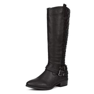 DREAM PAIRS Women's Bar Black Knee High Boots