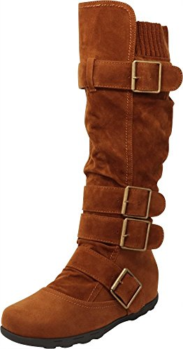Cambridge Select Women's Buckle Sweater Knee High Flat Boot