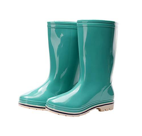 Kontai Womens Rain and Garden Boot Wellies Half Calf Rubber Waterproof