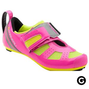 Louis Garneau Women's Tri X-Speed III Triathlon Cycling Shoes for Racing and Indoor Biking, Compatible with Major Road and SPD Pedals, Pink Glow/Bright Yellow, US (9), EU (40)