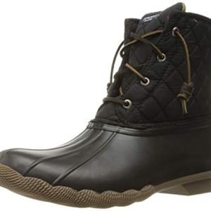 Sperry Women's Saltwater Rain Boot, Black Quilted