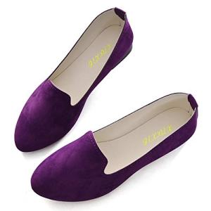 Slduv7 Women Pointed Comfortable Flat Ballet Shoes Dark Purple