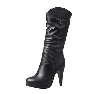 Vitalo Womens High Heel Platform Mid Calf Cowboy Boots Ladies