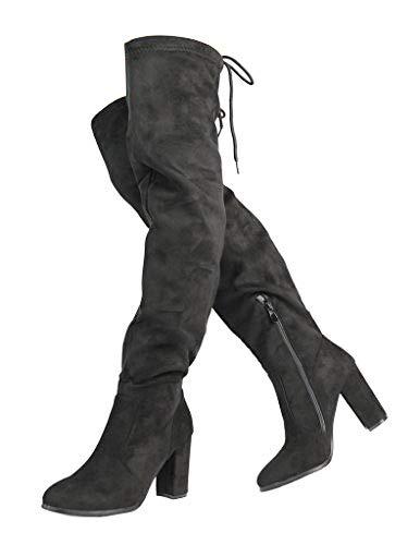 DREAM PAIRS Women's New Shoo Black Over The Knee High Heel