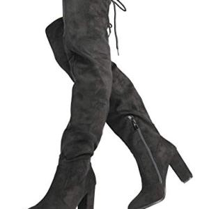 DREAM PAIRS Women's New Shoo Black Over The Knee High Heel