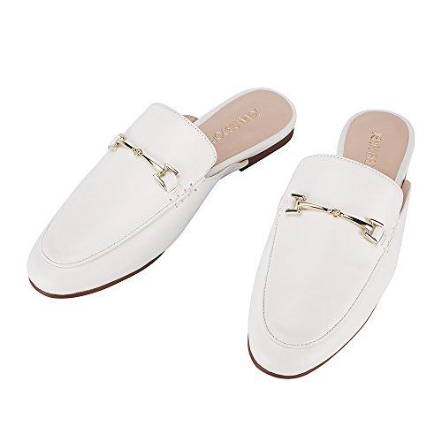 JENN ARDOR Women's Mule Flats Shoes Pointed Toe Backless Slipper Slip On