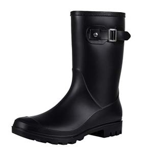 Evshine Women's Mid Calf Rain Boots Waterproof Garden Shoes Matte